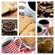 Collage of coffee and heart shaped biscuites — Stock Photo