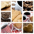 Collage of coffee and heart shaped biscuites - Stock Photo