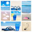 Collage of beach holiday scenes — Stock Photo