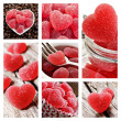 Collage of red heart shaped jelly sweets — Stock Photo