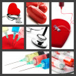 Medical collage with syringes stethoscope and pills — Stock Photo