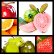 Collage with apples oranges quavas and strawberry — Stock Photo