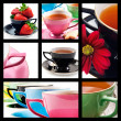 Collage of teacups in different colors — Stock Photo
