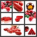 collage van rode pillen op een witte achtergrond — Stockfoto #10379989