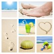 Collage of different summer beach holiday scenes — Foto de Stock