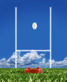 Rugby ball kicked to the posts showing movement — Stock Photo