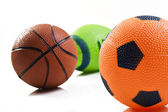 Collection of sport ball with soccer rugby an basket ball — Photo