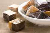 Cream caramel and chocolate sweets — Stock Photo