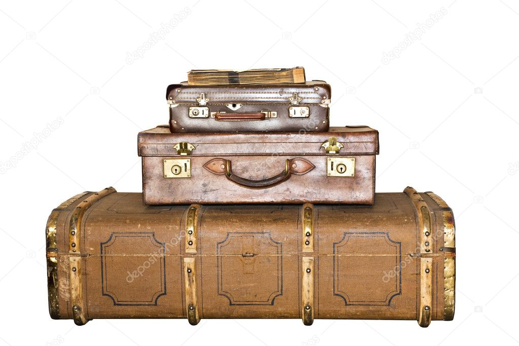 Three old leather suitcases isolated on white with space for text  Stock Photo #10398243