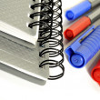Note books pens clips - stationary ready for back to school — Stock Photo