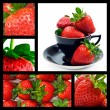 Stock Photo: Strawberry collage - ripe fresh strawberries