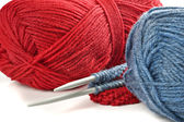 Woollen thread and knitting needle. Needlework accessories on white background. — Stock Photo