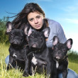 Stock Photo: Beautiful womwith dog