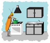 Cockroach kitchen unclean — Stock Vector