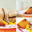 Collage with cup of coffee, macaroons and caramel pudding — Stock Photo #10441622