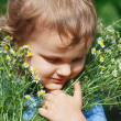 Little cute boy holding a bouquet of daisies — Stock Photo #10646089