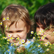 Young mom with her son among summer daisies — Stock Photo #10646147