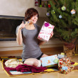 Woman and gifts — Stock Photo