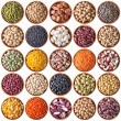 Collection of wooden bowls with legumes — Stock Photo