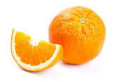Fresh orange with slices isolated on white — Stock Photo