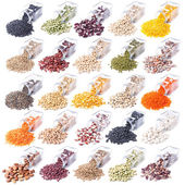 Different legumes are scattered on a white background — Foto Stock