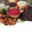 Background of different spices on white - Stock Photo