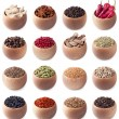 Set of wooden bowls full of different spices — Stock Photo