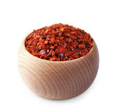 Wooden bowl full of paprika isolated on white — Stock Photo