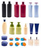 Sertie de bouteilles cosmétiques isolés sur blanc — Photo
