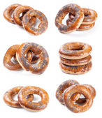 Set of six photos with bagels isolated on white — Stock Photo