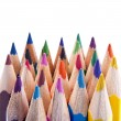 Various colour pencils in close up on white — Stockfoto