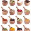 Stock Photo: Collection of wooden bowls full of different spices