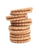 Stack of filled cookies isolated on white — Stock Photo