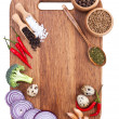 Stock Photo: Culinary background with fresh vegetables on cutting board