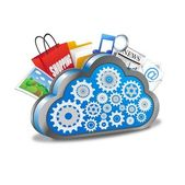 Cloud computing with application icons — Stock Vector