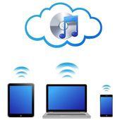 Vector cloud music concept — Stock Vector
