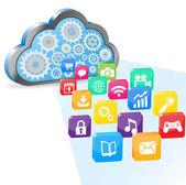 Vektör bulut bilgisayar ve uygulamaları — Stok Vektör