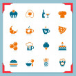 Food and drinks icons | In frame series — Stok Vektör #8237983