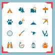 Stock Vector: Camping and hunting icons | In a frame series
