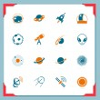 Space icons   In a frame series — Stock Vector