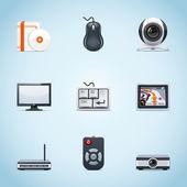 Icone periferiche computer — Vettoriale Stock