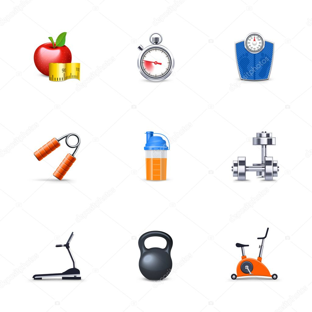 Fitness and sport icons — Stok fotoğraf #9740560