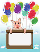 Funny pig,happy birthday card. — Stock Photo