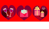 Red background with Valentines symbols — Stock Photo