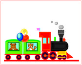 Happy birhday card,funny train with teddy bear and tiger on the white — Stock Photo