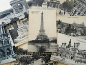 Bunch of vintage postcards of Paris — Stock Photo