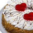 Pie with two red hearts. - Stock Photo