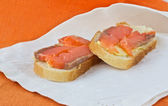 2 sandwiches with salmon — Stock Photo