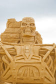 BURGAS, BULGARIA - JULY 2011:The Terminator on the Sand Sculptures festival in Burgas.The participants are from eight countries: Russia, Ukraine, Latvia, Poland — Stock Photo