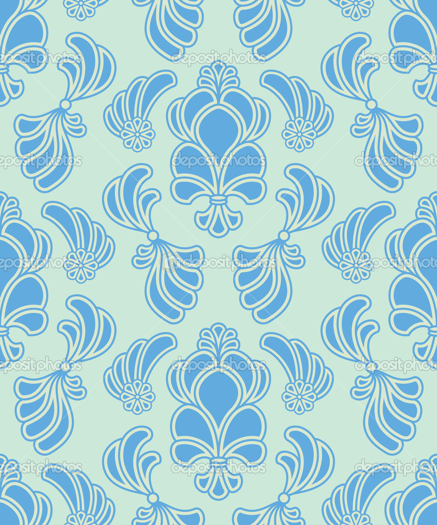 Vector abstract ornate shelly seamless pattern in green background  Stock Vector #10536704